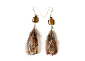 earrings_Tiger_eye_feather